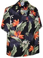 Pacific Legend Bird of Paradise Black Cotton Women's Hawaiian Shirt