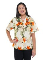 Pacific Legend Bird of Paradise Cream Cotton Women's Hawaiian Shirt
