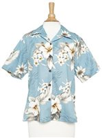 Pacific Legend Hibiscus Blue Cotton Women's Hawaiian Shirt