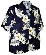 Pacific Legend Hibiscus Navy Cotton Women's Hawaiian Shirt