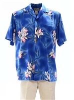Two Palms Midnight Orchid Blue Rayon Men's Hawaiian Shirt