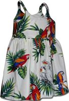 Pacific Legend Parrot White Cotton Toddlers Hawaiian Bungee Dress