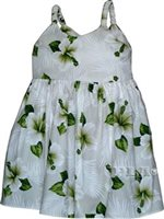 Pacific Legend Hibiscus White Cotton Toddlers Hawaiian Bungee Dress