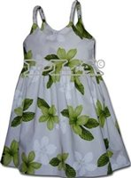 Pacific Legend Plumeria Lime Cotton Toddlers Hawaiian Bungee Dress