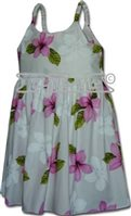 Pacific Legend Plumeria Pink Cotton Toddlers Hawaiian Bungee Dress