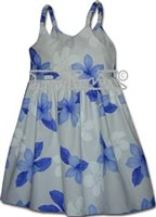 Pacific Legend Plumeria Blue Cotton Toddlers Hawaiian Bungee Dress