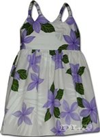 Pacific Legend Plumeria Purple Cotton Toddlers Hawaiian Bungee Dress