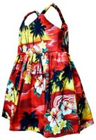 Pacific Legend Sunset Red Cotton Toddlers Hawaiian Bungee Dress