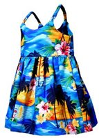 Pacific Legend Sunset Blue Cotton Toddlers Hawaiian Bungee Dress