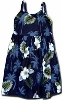 Pacific Legend Hibiscus Monstera Navy Cotton Toddlers Hawaiian Bungee Dress