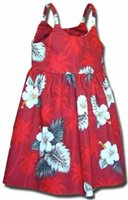 Pacific Legend Hibiscus Monstera Red Cotton Toddlers Hawaiian Bungee Dress
