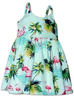 Pacific Legend Flamingo Sage Cotton Toddlers Hawaiian Bungee Dress