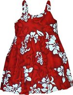 Pacific Legend White Hibiscus Red Cotton Toddlers Hawaiian Bungee Dress