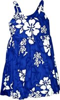 Pacific Legend White Hibiscus Blue Cotton Toddlers Hawaiian Bungee Dress