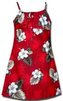 Pacific Legend Hibiscus Monstera Red Cotton Youth Girls Hawaiian Spaghetti Dress