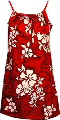 White Hibiscus Red Cotton Youth Girls Hawaiian Spaghetti Dress