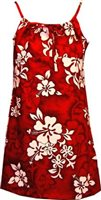 Pacific Legend White Hibiscus Red Cotton Youth Girls Hawaiian Spaghetti Dress