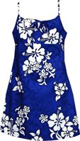 Pacific Legend White Hibiscus Blue Cotton Youth Girls Hawaiian Spaghetti Dress