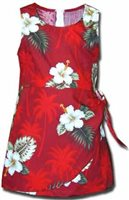 Pacific Legend Hibiscus Monstera Red Cotton Toddler Girls Hawaiian Sarong Dress