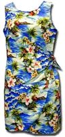 Pacific Legend Diamond Head Blue Cotton Toddler Girls Hawaiian Sarong Dress