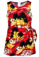 Pacific Legend Sunset Red Cotton Toddler Girls Hawaiian Sarong Dress