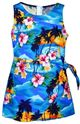 Pacific Legend Sunset Blue Cotton Toddler Girls Hawaiian Sarong Dress