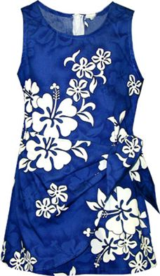 aa45af804d61 Pacific Legend White Hibiscus Blue Cotton Toddler Girls Hawaiian ...