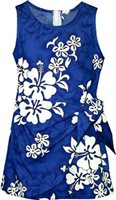 Pacific Legend White Hibiscus Blue Cotton Toddler Girls Hawaiian Sarong Dress