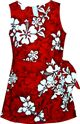 Pacific Legend White Hibiscus Red Cotton Girls Hawaiian Sarong Dress