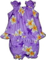 Pacific Legend Plumeria Purple Cotton Infant Girls Hawaiian Cabana Set