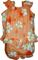 Pacific Legend Plumeria Orange Cotton Infant Girls Hawaiian Cabana Set