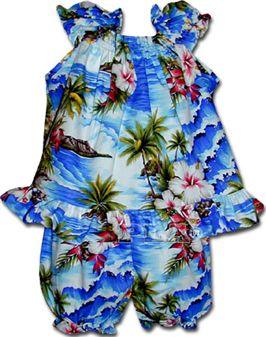 1f8c76c6c6f Pacific Legend Diamond Head Blue Cotton Infant Girls Hawaiian Cabana ...