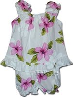 Pacific Legend Plumeria Pink Cotton Infant Girls Hawaiian Cabana Set