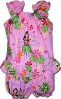 Pacific Legend Hula Girl Pink Cotton Infant Girls Hawaiian Cabana Set