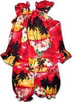 Pacific Legend Diamond Head Red Cotton Infant Girls Hawaiian Cabana Set