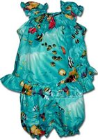 Pacific Legend Tropical Fish Turquoise Cotton Infant Girls Hawaiian Cabana Set