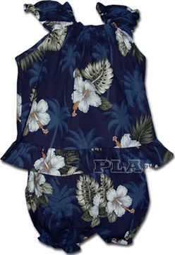 Hibiscus Monstera Navy Cotton Infant Girls Hawaiian Cabana Set