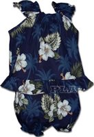 Pacific Legend Hibiscus Monstera Navy Cotton Infant Girls Hawaiian Cabana Set