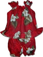 Pacific Legend Hibiscus Monstera Red Cotton Infant Girls Hawaiian Cabana Set