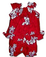 Pacific Legend White Hibiscus Red Cotton Infant Girls Hawaiian Cabana Set