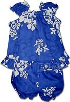 Pacific Legend White Hibiscus Blue Cotton Infant Girls Hawaiian Cabana Set