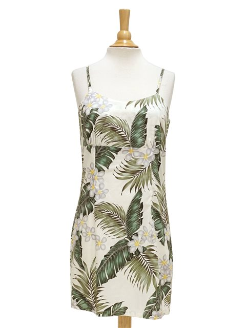 563cd0fa Pacific Legend Plumeria & Monstera Cream Cotton Hawaiian Spaghetti Short  Dress