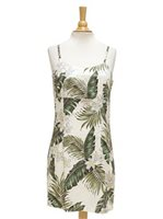 Pacific Legend Plumeria & Monstera Cream Cotton Hawaiian Spaghetti Short Dress