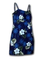Pacific Legend Hibiscus Monstera Navy Cotton Hawaiian Spaghetti Short Dress