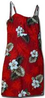 Pacific Legend Hibiscus Monstera Red Cotton Hawaiian Spaghetti Short Dress