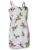 Pacific Legend Plumeria Pink Cotton Hawaiian Spaghetti Short Dress