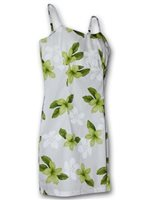 Pacific Legend Plumeria Lime Cotton Hawaiian Spaghetti Short Dress