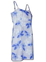 Pacific Legend Plumeria Blue Cotton Hawaiian Spaghetti Short Dress