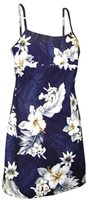 Pacific Legend Hibiscus Navy Cotton Hawaiian Spaghetti Short Dress