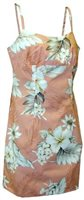 Pacific Legend Hibiscus Peach Cotton Hawaiian Spaghetti Short Dress